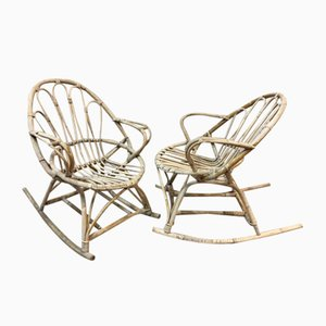 Rattan Rocking Chairs, 1960s, Set of 2