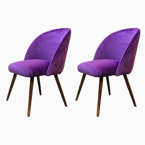 Danish Beech and Violet Velvet Lounge Chairs, 1960s, Set of 2
