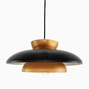 Mid-Century Danish Black and Copper Pendant Lamp from Fog & Mørup, 1960s