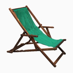 Italian Wood and Green Fabric Deck Chair, 1960s, Set of 2