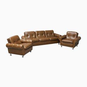 Juego de sofá y butacas vintage de cuero, años 70