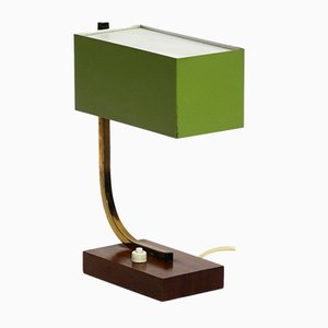 Mid-Century Italian Green Metal and Wooden Table Lamp, 1950s
