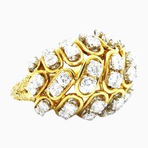 Bague Dorée avec Diamants par Cartier, 1960s