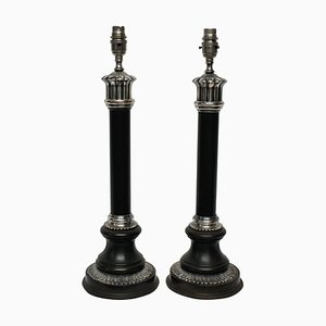 Mid-Century Neoclassical Style Bronze and Silver Plated Column Table Lamps, Set of 2