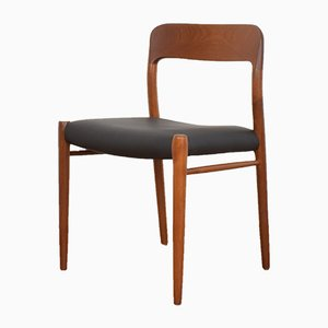 Mid-Century Danish Teak and Leather Dining Chairs by Niels Otto Møller for J.L. Møllers, 1960s, Set of 4