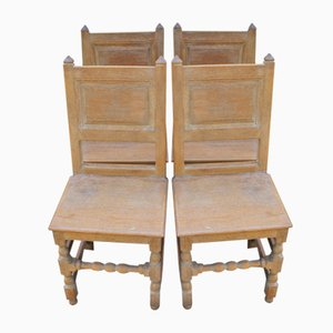 Antique Limed Oak Dining Chairs, 1900s, Set of 4