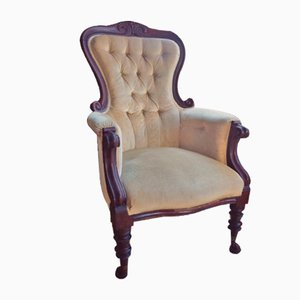 Antique Mahogany Spoon Back Armchair, 1900s