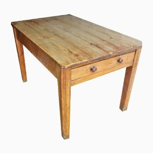 Small Antique Country Pine Rectangle Side Table with Drawer, 1900s