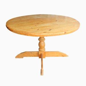 Mesa de comedor rústica redonda de pino, años 40