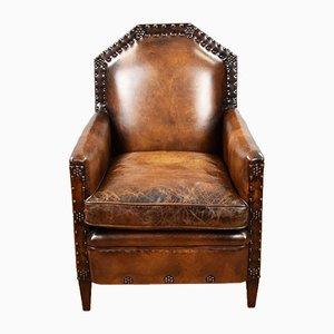 Handgestickter Leder Armlehnstuhl im viktorianischen Stil