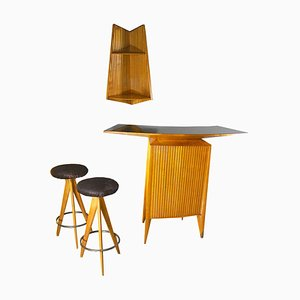 Italian Bar Set of Stools, Cabinet Bar and Small Shelf in the Style of Gio Ponti, 1950s
