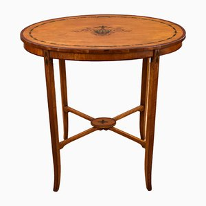 Antique Edwardian Satinwood Hand Painted Side Table from S&H Jewell