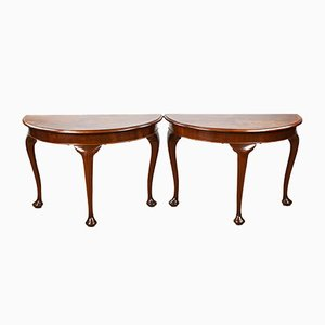 Walnut Console Tables, 1920s, Set of 2