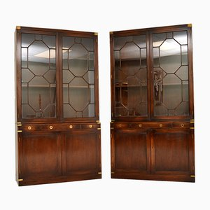 Military Campaign Style Mahogany Bookcase, 1950s, Set of 2