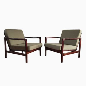 Olive Lounge Chairs by Zenon Bączyk for Swarzędzkie Fabryki Mebli, 1960s, Set of 2