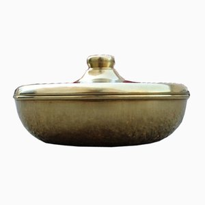 Italian Round Golden Brass Tobacco Box, 1970s