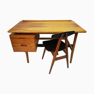 Schreibtisch- und Stuhl Set aus Nussholz, 1960er