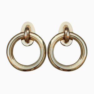 Italian Solid Brass Ring Door Handles, 1970s, Set of 2