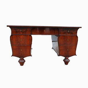Antique Italian Mahogany and Leather Desk, 1860s