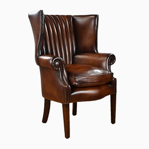 Antique Hand Dyed Leather Barrel Back Armchair