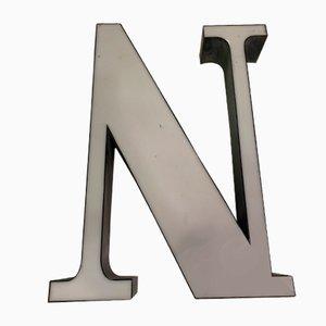 Letra N vintage de plexiglás