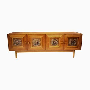 Wooden Sideboard with Handmade Leather Ornaments, 1970s