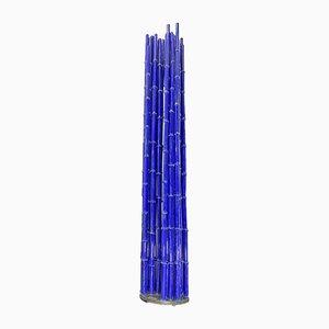 Großes Canneto Glasobjekt in Blau aus Bambus von Pino Castagna für Berengo Studios Murano, Italien, 1990er