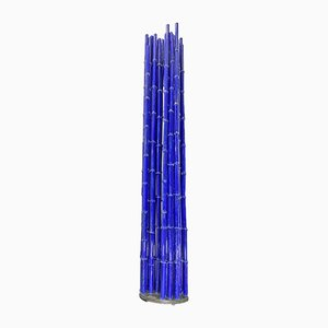 Large Blue Bamboo Canneto Glass Object by Pino Castagna for Berengo Studios Murano, Italy, 1990s