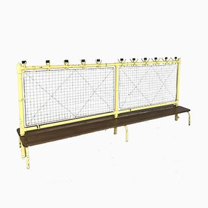 Vintage Industrial Wire Mesh Metal and Wood Double Gym Bench, 1960s