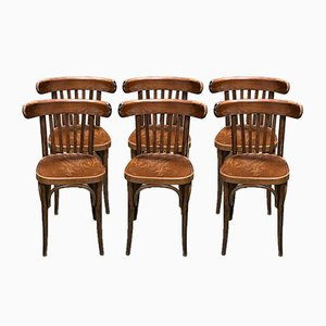 Wooden Bistro Chairs, 1930s, Set of 6