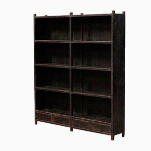Antikes Doppel-Bücherregal aus Ulmenholz
