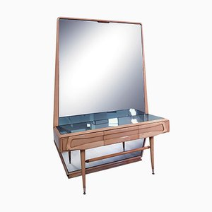 Mid-Century Italian Maple Dressing Table with Mirror by Silvio Cavatorta, 1950s