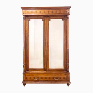 Antique French Walnut Wardrobe with Mirrored Doors