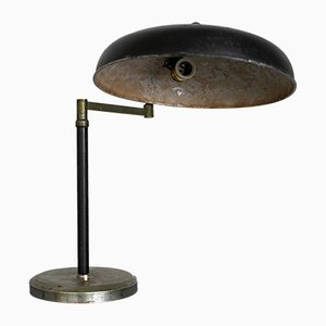 Vintage Italian Black Lacquered and Nickel Table Lamp, 1940s