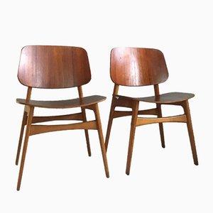 Dänische Mid-Century Modell 155 Shell Stühle aus Teak & Eiche von Børge Mogensen für Søborg, 2er Set
