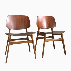 Mid-Century Danish Teak and Oak Model 155 Shell Chairs by Børge Mogensen for Søborg, Set of 2