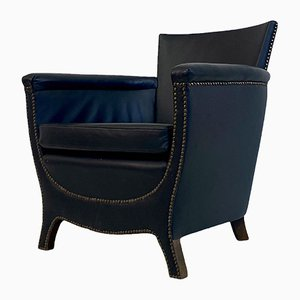 Swedish Blue Leather Armchair by Otto Schulz for Boet, 1930s