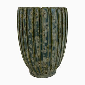 Danish Green Stoneware Vase by Arne Bang, 1940s