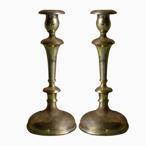 Golden Metal Candleholders, 1940s, Set of 2