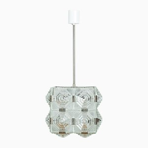 Cut Glass Cube Pendant Lamp from Kamenický Šenov, 1950s