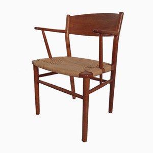 Armlehnstuhl aus Teak und Papierkordel von Børge Mogensen für Søborg Møbelfabrik, 1950er