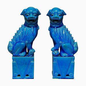 Large Turquoise Glazed Foo Dogs, 1950s, Set of 2