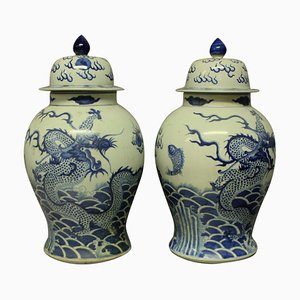 Large Chinese Vases with Covers, 1950s, Set of 2