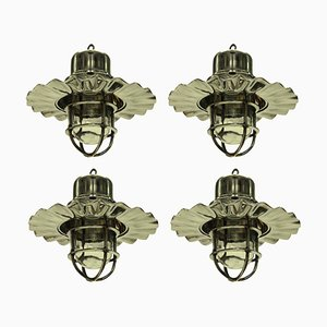 Vintage Nickel Ship Lamps, Set of 4