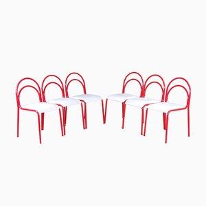 Esszimmerstühle aus rot emailliertem Eisen und weißem Leder, 1950er, 6er Set