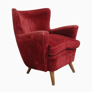 Mid-Century Italian Bordeaux Velvet Lounge Chairs Attributed to Melchiorre Bega, 1950s, Set of 2