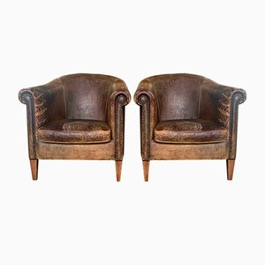 Vintage Dutch Leather Tub Armchairs, 1980s, Set of 2