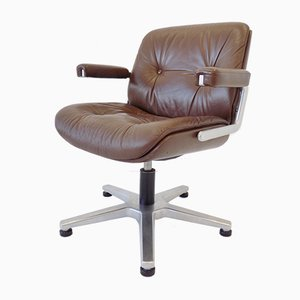 Brown Leather Swivel Desk Chair by Karl Dittert for Martin Stoll, 1970s