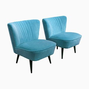 Hungarian Blue Club Chairs, 1950s, Set of 2
