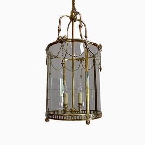 19th Century Louis XVI Style Glass and Brass Lantern Ceiling Lamp